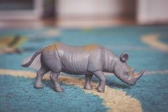Plastikowa nosorożec zabawka Zdjęcia Stock