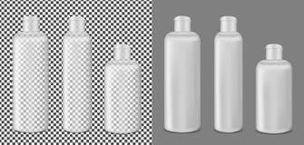 Plastikowa przejrzysta płukanki butelka Pakować dla kosmetyków royalty ilustracja