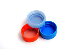 Plastikowe butelek nakrętki Obrazy Stock