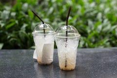 Plastikowe filiżanki kawy Zdjęcie Royalty Free