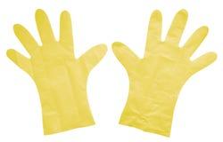 Plastikowe rękawiczki odizolowywać - kolor żółty Obrazy Stock