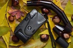 Plastikowego filmu kamery kasztany i ekranowe rolki wśród jesień liści na drewnianym stole Odgórny widok Zdjęcia Royalty Free