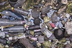 Plastikowej banialuka papieru piany śmieciarski zanieczyszczenie w rzece Zdjęcia Royalty Free