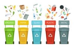 Plastikowi zbiorniki dla śmieci różni typ Wektorowe ilustracje w kreskówka stylu ilustracji
