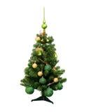 Plastikowy Chrismas drzewo z zielony odgórny odosobnionym na białym backgroun zdjęcie stock
