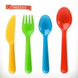 Plastikowy cutlery Dzieciaków Food 3d ikony wektorowy set Zdjęcia Stock
