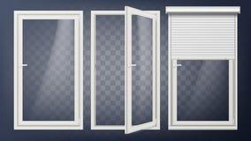 Plastikowy Drzwiowy wektor PVC klingerytu profil Biel Pusta Rolkowa żaluzja Rozpieczętowany i Zamknięty Odizolowywający na przejr royalty ilustracja