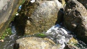 Plastikowy grat w ocean skałach zdjęcie wideo