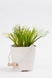 Plastikowy kwiat w białym wiadrze Zdjęcia Royalty Free