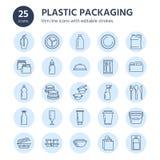 Plastikowy pakować, rozporządzalne tableware linii ikony Produktu zbiornik, butelka, paczka, kanister, talerz i cutlery, royalty ilustracja