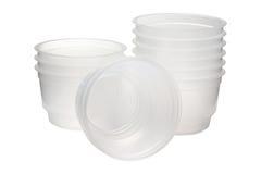 Plastikowy pakunek dla karmowego stopnia na białym tle Obraz Royalty Free