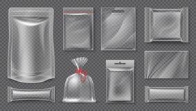 Plastikowy pakunek Przejrzysty realistyczny kieszonki mockup, pusta 3d jedzenia paczka, pusty klingeryt folii szablon Wektorowa p ilustracji