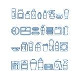 Plastikowy produktu pakunek, rozporządzalny tableware, karmowi zbiorniki, filiżanki i talerze, wykładamy wektorowe ikony royalty ilustracja