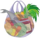 Plastikowy przejrzysty torba na zakupy pełno owoc warzywa i f ilustracji