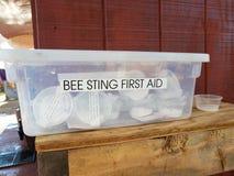 Plastikowy pudełko z pszczoły żądła pierwszej pomocy etykietką fotografia stock