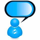 Plastikpersonen-Ikone mit Sprache-Luftblase Lizenzfreie Stockfotografie