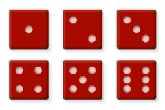 Plastikrot würfelt für Kasino-Vektor-Illustration Stockfotografie