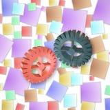Plastiksatz Gänge auf Farbhintergrund Abbildung 3D Lizenzfreie Stockfotografie