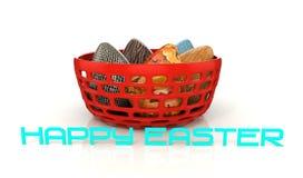 Plastikschüssel 3d mit bunten Eiern und glücklicher Ostern-Mitteilung Stockfotografie