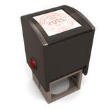 Plastikstempel mit dem Text guten Rutsch ins Neue Jahr 2015 Stockbilder