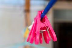 Plastikstoffclip hängen am blauen Seil für Klammernkleidung, nachdem sie sich gewaschen haben stockfotografie