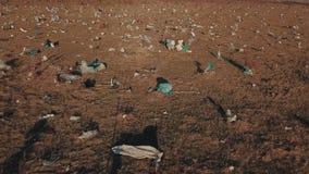 Plastiktaschen auf dem Rasen stock video footage