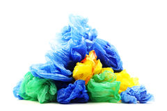 Plastiktaschen lokalisiert auf einem Weiß Stockfotos
