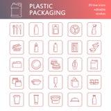 Plastikverpackung, Einweggeschirrlinie Ikonen Produktbehälter, Flasche, Paket, Kanister, Platten und Tischbesteck vektor abbildung
