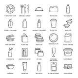 Plastikverpackung, Einweggeschirrlinie Ikonen Produktsätze, Behälter, Flasche, Paket, Kanister, Platten und stock abbildung