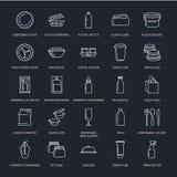 Plastikverpackung, Einweggeschirrlinie Ikonen Produktsätze, Behälter, Flasche, Paket, Kanister, Platten und lizenzfreie abbildung