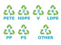 Plastique réutilisant des symboles Photographie stock libre de droits