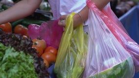 Plastpåsar och tomater arkivfilmer