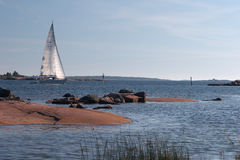 Plasure yacht entering to Hanko harbour Royalty Free Stock Photos