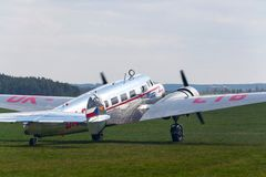 Lockheed Electra 10A vintage airplane preparing for flight on airport. PLASY, CZECH REPUBLIC - APRIL 30: Lockheed Electra 10A vintage airplane preparing for Stock Photography