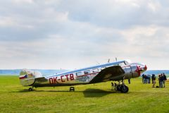 Lockheed Electra 10A vintage airplane preparing for flight on airport. PLASY, CZECH REPUBLIC - APRIL 30: Lockheed Electra 10A vintage airplane preparing for Stock Image