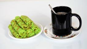 Plat торта и чашки кофе Стоковое Изображение RF