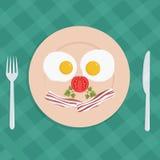 Plat américain traditionnel de petit déjeuner avec les oeufs au plat et le lard - illustration plate de vecteur de style Photo libre de droits