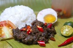 Plat authentique traditionnel philippin : tapa ?pic? philippin de beaf avec l'oeuf et le riz photo stock