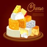 Plat avec différents types de fromage coupé en tranches illustration de vecteur