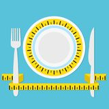 Plat avec la bande, la fourchette et le couteau de mesure sur l'esprit bleu de fond illustration de vecteur