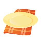 Plat avec la serviette de tissu Image stock