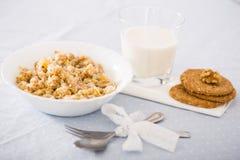 Plat avec le gruau de céréale pour le petit déjeuner Images libres de droits
