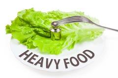 Plat avec le poids Concept de nourriture lourde Photo libre de droits