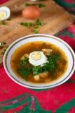 Plat avec le potage aux légumes et le demi oeuf Photographie stock