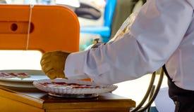 Plat avec les tranches coupées de serrano de jamon, jambon espagnol traditionnel Photographie stock libre de droits