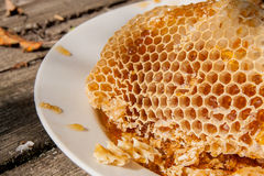 Plat blanc avec la section du nid d'abeilles de cire de la ruche sur le vi Images stock
