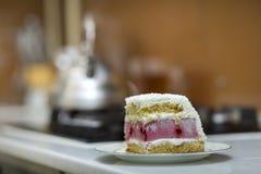 Plat blanc avec le morceau fait maison délicieux délicieux frais de gâteau crémeux blanc et rose de biscuit de fruit sur la table image stock