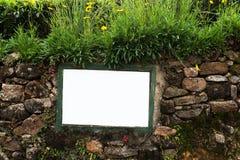 Plat blanc sur le mur en pierre de texture entouré par l'herbe verte photo libre de droits