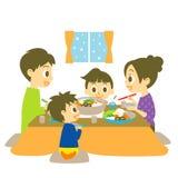 Plat chaud japonais de pot, famille illustration stock