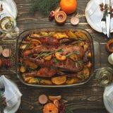 Plat-configuration de concept de groupe de dîner de nouvelle année de Noël images stock